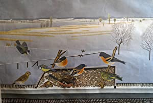 Schulwandbild nr. 78: Am Futterbrett ( Birds feeding in Winter) von Adolf Dietrich, 1953