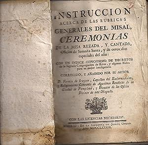 Instrucción acerca de las rubricas generales del: DE IRAYZOS, FERMIN