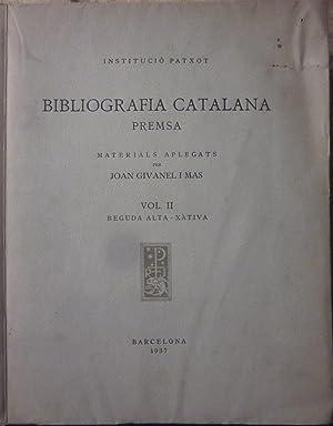 Bibliografia catalana. Premsa. 3 volums: GIVANELL I MAS, JOAN