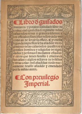 Libro de guisados manjares y potajes intitulado: DE NOLA, RUPERTO