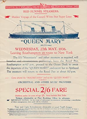 May 27th 1936 Original Poster For First Sailing of The Queen Mary From Southampton