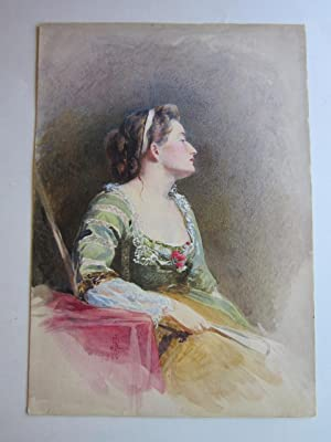 Watercolor Portrait of a Seated Woman: original artwork]