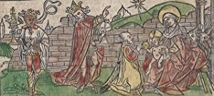 "Two hand-colored woodcut illustrations of the ""Adoration of the Magi"" and ""Christ�s ..."