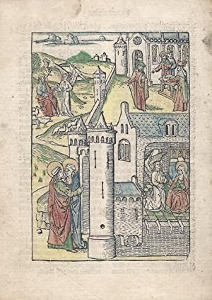 Two full-page hand-colored woodcuts from a 15th-century Dutch Bible: DUTCH BIBLE ILLUSTRATIONS