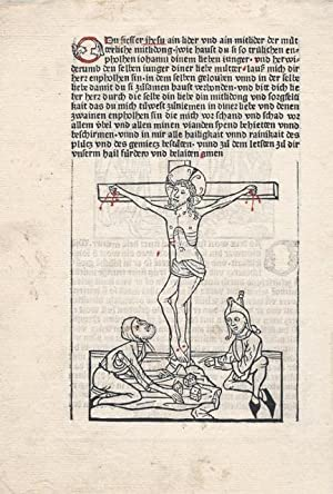 Two half-page woodcut miniatures of the Crucifixion with Longinus spearing the side of Christ and ...
