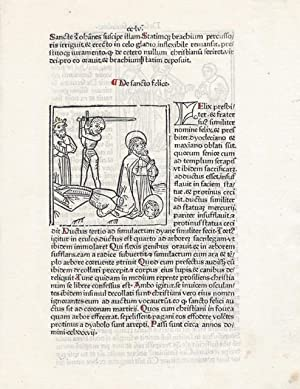 Single incunable leaf with woodblock column miniature of the Martyrdom of Saints Felix and Regula: ...