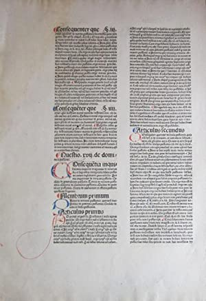 "Single incunable leaf from Bonaventura treatise, ""Quaestiones super IV libros Sentiarum Petri ..."