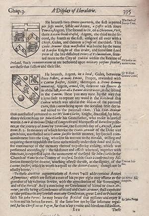 "Single leaf, ""p.395-396,"" of John Guillim's ""Display of Heraldrie"": ..."