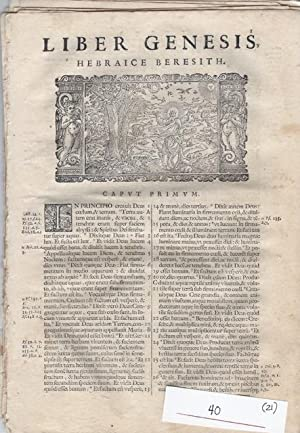 "21 printed leaves from ""Biblia Sacra Vulgata editionis Sixti V. & Clem. from VIII. Pont. ..."