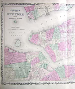 Johnson's Map of New York and the Adjacent Cities [AND] Johnson's New York: Johnson, A. J...