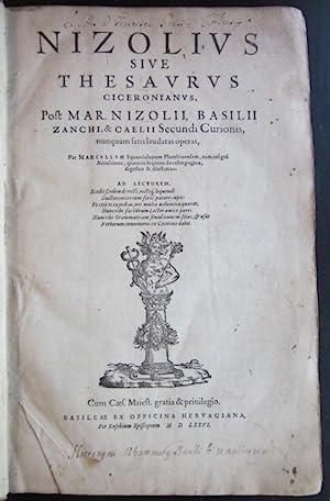 Nizolius sive Thesaurus Ciceronianus: NIZZOLI, Mario (Marius Nizolius) (1498-1576)