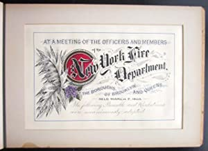 Manuscript Presentation Volume from the New York City Fire Department to Vaudeville Manager Percy G...