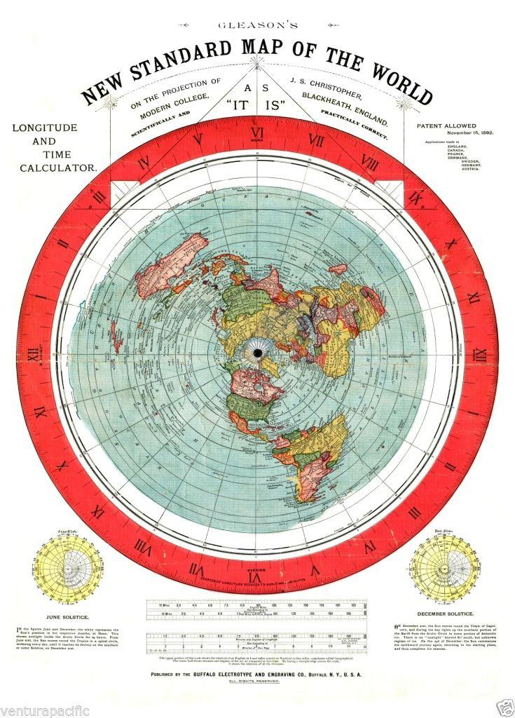 Gleasons new standard map of the world flat earth circa 1892 by gleasons new standard map of the world flat earth circa 1892 alexander gumiabroncs Images