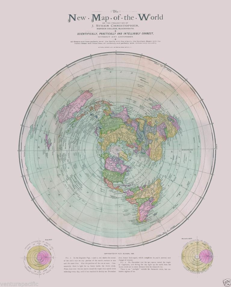 New Flat Earth Map.Rare The New Map Of The World Flat Earth Circa 1899