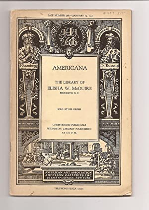 AMERICANA. THE LIBRARY OF ELISHA W. MCGUIRE,: American Art Association