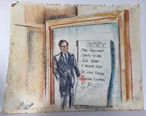 ORIGINAL PASTEL AND PENCIL DRAWINGS FROM THE COURTROOM TRIALS OF WATERGATE CONSPIRATORS, JUNE-AUG...