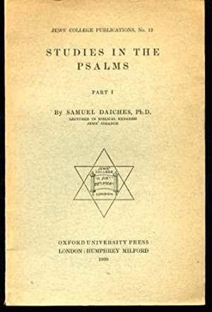 Studies in the Psalms, Jews' College Publications No.12 (SIGNED COPY)