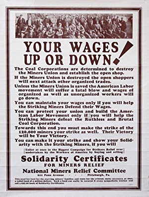 Poster] Your Wages Up or Down!: COAL] NATIONAL MINERS