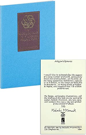 A Collection of Yiddish Proverbs [Limited Edition, Signed]