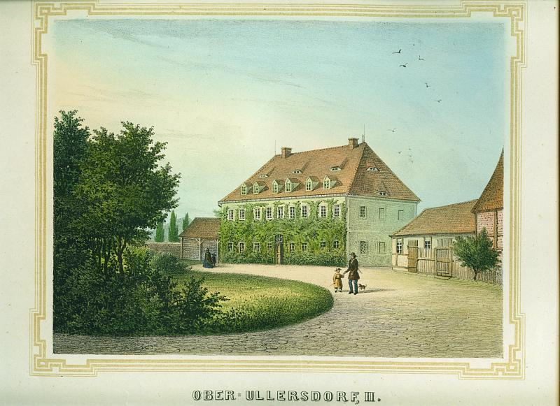 Ober-Ullersdorf, II. (bei Bautzen). Altkolorierte Lithographie v.