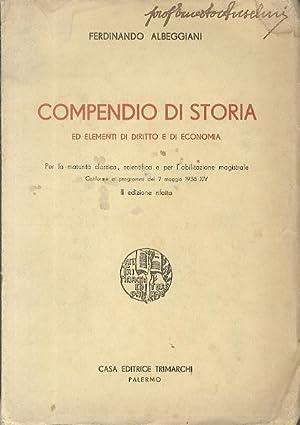 Compendio di storia ed elementi di diritto: ALBEGGIANI, Ferdinando.