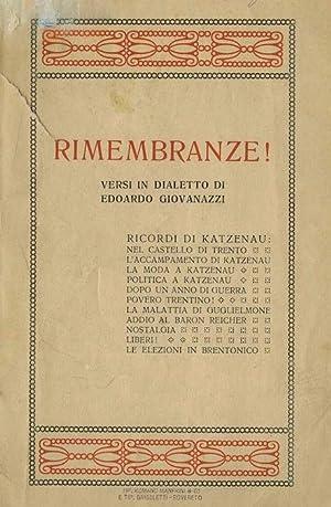 Rimembranze!: Versi in dialetto.: Ricordi di Katzenau: GIOVANAZZI, Edoardo.