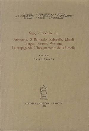 Saggi e ricerche su: Aristotele, S. Bernardo,: GIACON, Carlo.