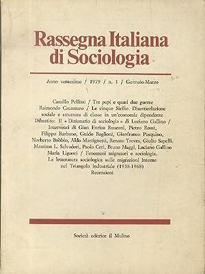 Rassegna italiana di Sociologia.: Rivista trimestrale.: PELLIZZI, Camillo.