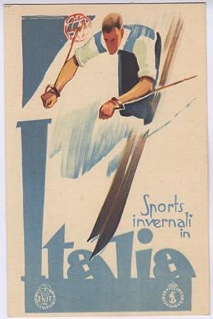 Cartolina illustrata: Sports invernali in Italia.: LENHART, Franz.