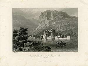 Castell Dopplino [Toblino] und der Dopplino [Toblino] See. (Südtyrol).: LAUTERBACH, Franz.