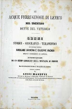 Le acque ferruginose di Levico nel Trentino dette del Vetriolo: cenni ...