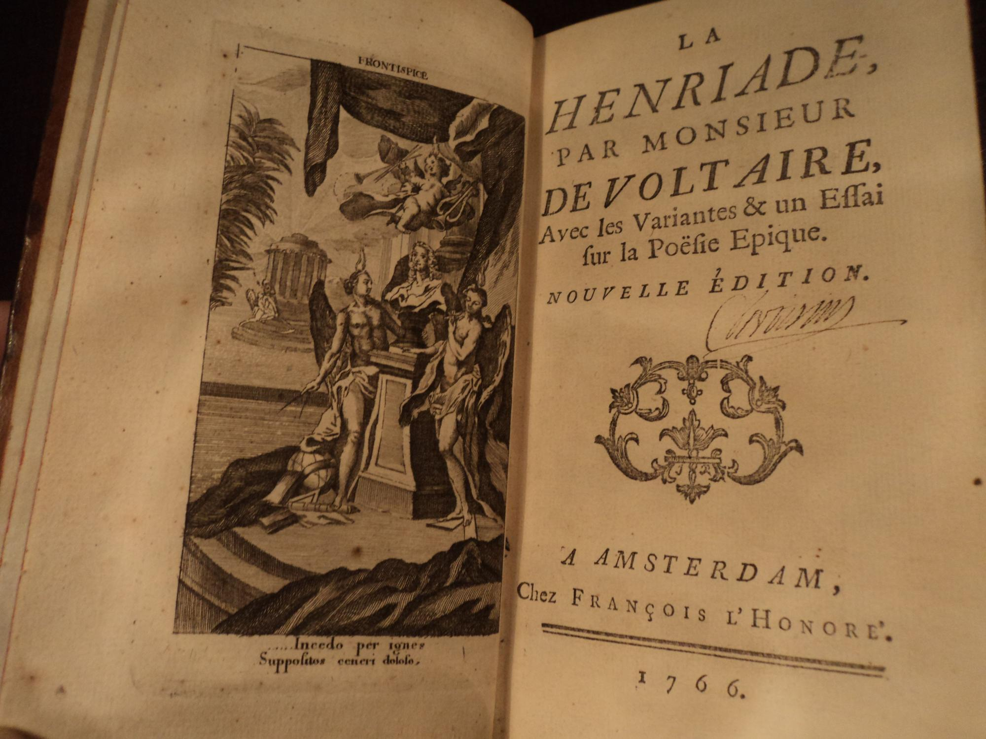 1766 Voltaire La Henriade Enlightenment Henry IV Wars of Religion France: Voltaire