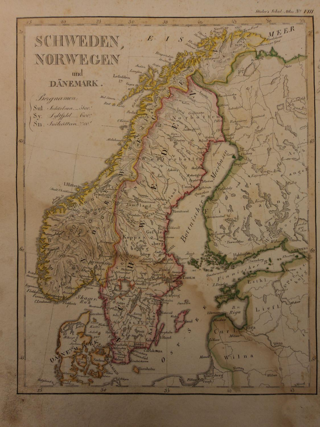 Color steel map of scandinavia sweden norway denmark finland 26cm x color steel map of scandinavia sweden norway denmark finland 26cm x 22cm adolf stieler gumiabroncs Images