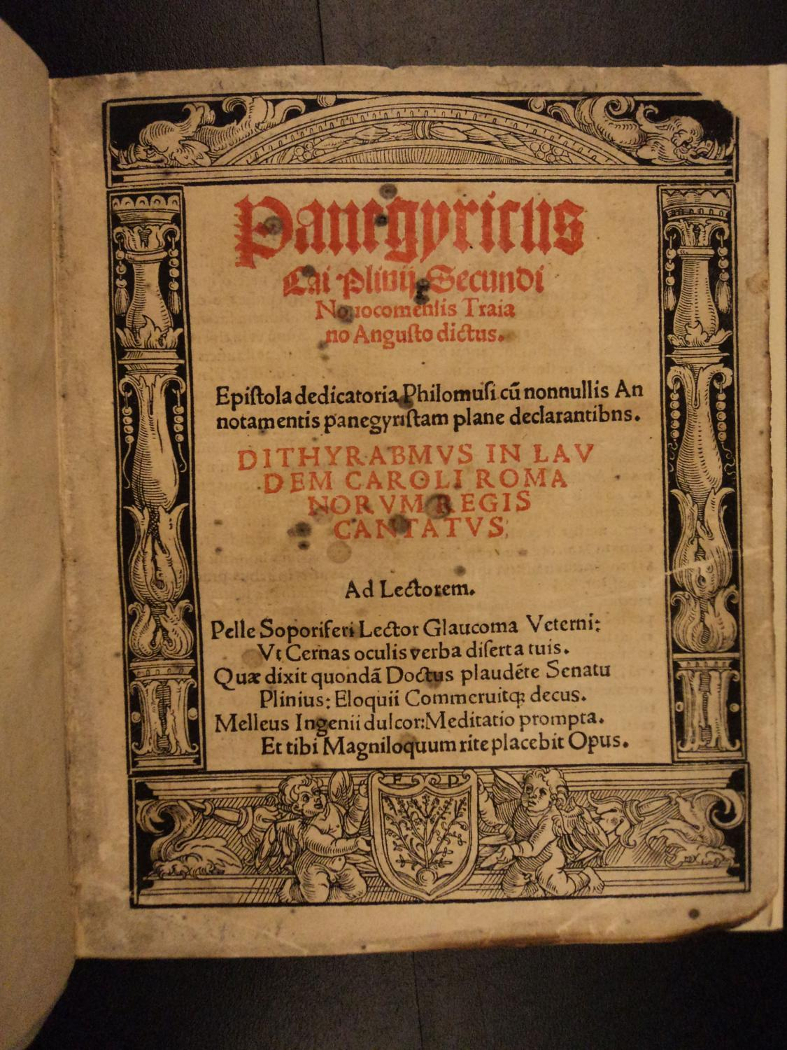 1520 Pliny the Younger PANEGYRICS Classical ROME Vesuvius Latin Post Incunable: Pliny the Younger