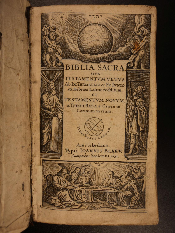 1651 Biblia Sacra BIBLE Tremellius Junius Beza English Psalms Calvinism Huguenot: Immanuel ...