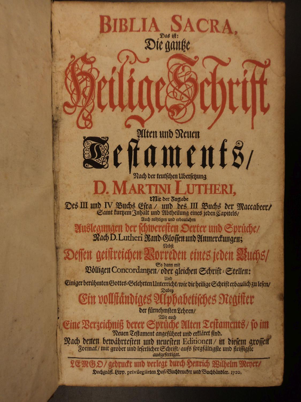 1720 Martin Luther BIBLE Biblia Sacra German Heilige Schrift COMPLETE Lemgo: Biblia Sacra / Martin ...