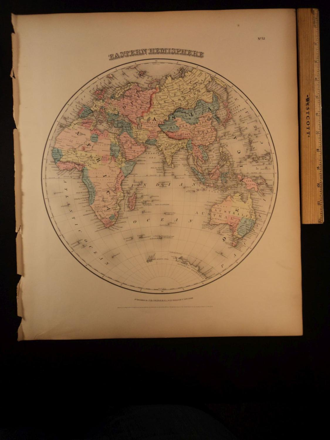 Map Of Africa Europe And Asia.1855 1st Colton Atlas Color Map Of Eastern