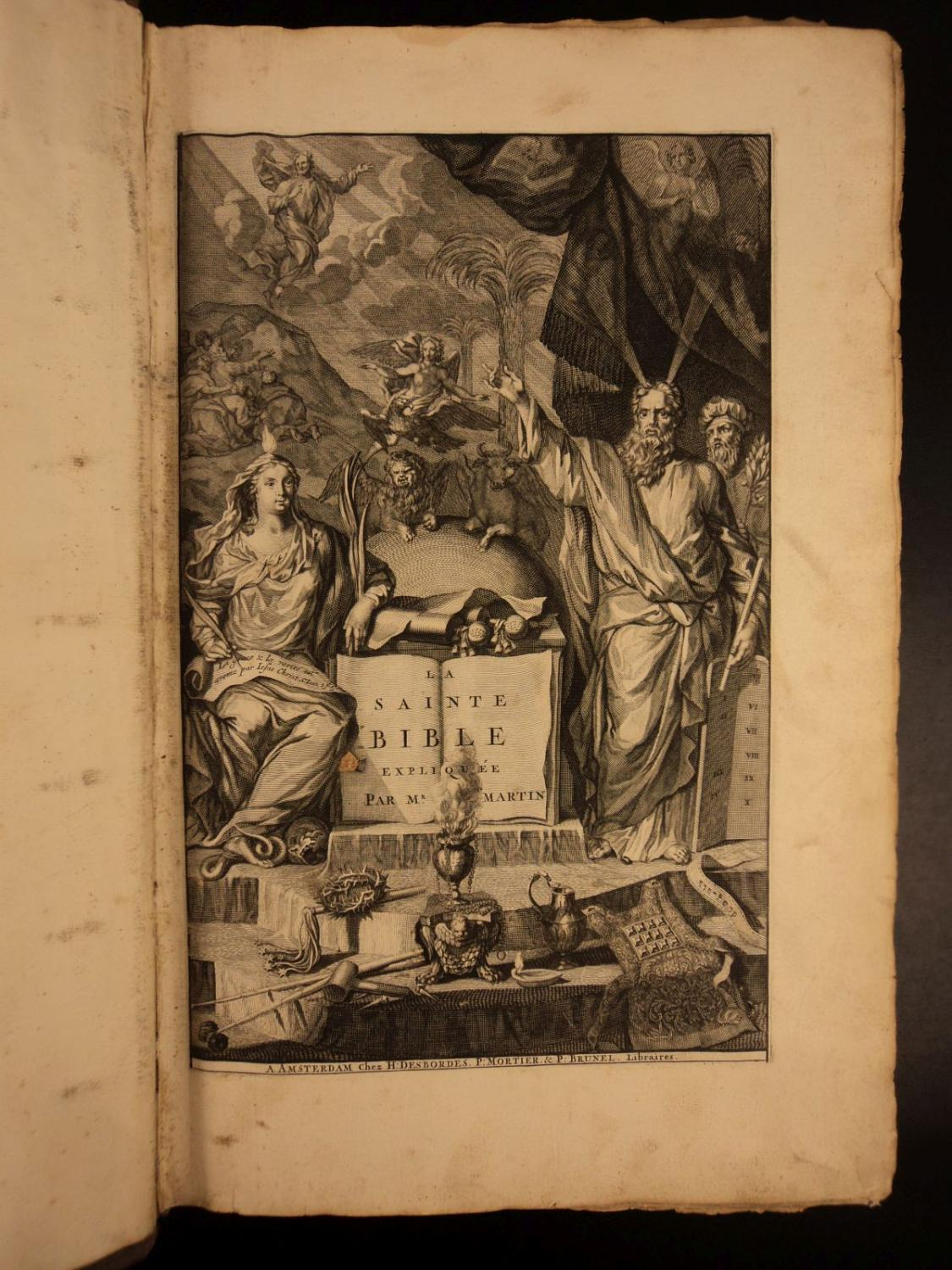 1707 HUGUENOT BIBLE by French Protestant David Martin Illustrated Holy Land MAPS: Holy Bible; David...