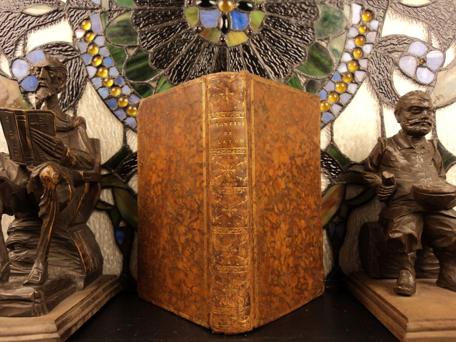 1779 1st ed Lost City of ATLANTIS w/ Plato Astronomy Voltaire Bailly MAP of Asia Jean Sylvain Bailly Near Fine Hardcover