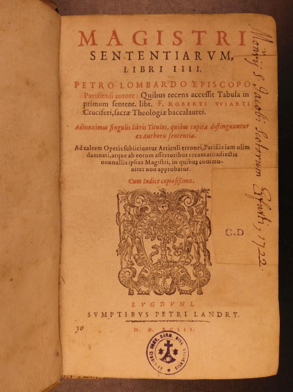 1593 1st ed Peter Lombard Sentences Bible
