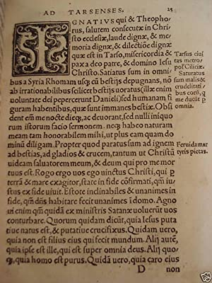 1520 P. Incunabula Saint Ignatius of Antioch / Polycarp of Smyrna Church Fathers: Ignatius st, bp. ...