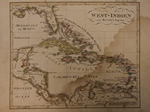 Color Steel MAP of the West Indies Cuba Caribbean Sea Jamaica 26cm X 22cm: Adolf Stieler
