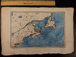 Color Copper Map CANADA Newfoundland New England USA Bonne 41cm X 27cm: Rigobert Bonne