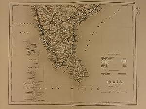 Color Steel Map Southern INDIA Hindustan Bombay Sri Lanka 41cm X 32cm: John Wykeham Archer