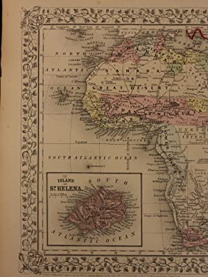 Color Steel Engraved Map of AFRICA Egypt Hottentot Sahara Morocco Barbary: Samuel Augustus Mitchell