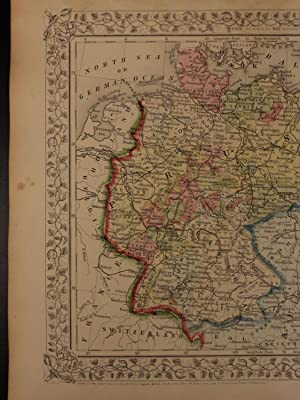 1866 Color Steel Engraved Map of PRUSSIA Germany Austria Bavaria Bohemia Saxony: Samuel Augustus ...