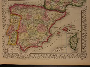 1866 Color Steel Engraved Map of FRANCE Spain Portugal Corsica Swiss Cantons: Samuel Augustus ...