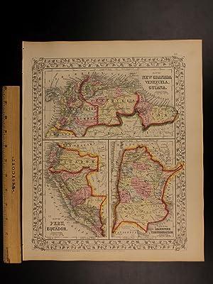 1866 Color Steel Engraved Map of VENEZUELA Guiana PERU Argentina Patagonia 3in1: Samuel Augustus ...