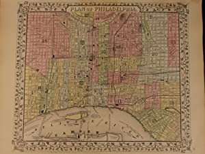 1866 Color Steel Engraved Mitchell Map of City of PHILADELPHIA Pennsylvania: Samuel Augustus ...