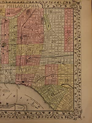 1866 Color Steel Engraved Mitchell Map of City of PHILADELPHIA Pennsylvania: Samuel Augustus ...